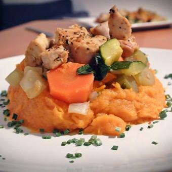 Poulet, Légumes et Purée de Patate douce